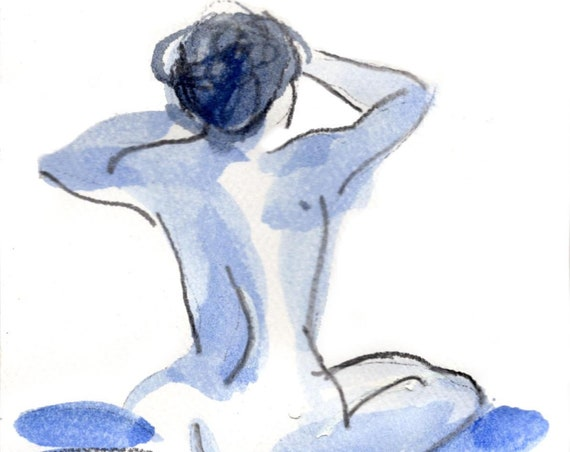 Watercolor graphite painting of MINI NUDE 56- original  by Gretchen Kelly