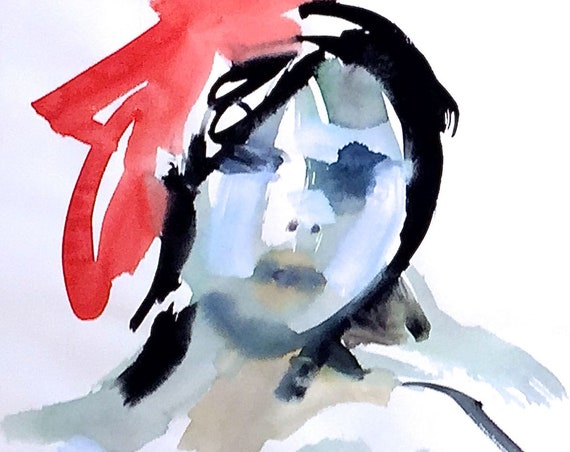 Portrait of Nude 1512- original watercolor portrait painting by Gretchen Kelly