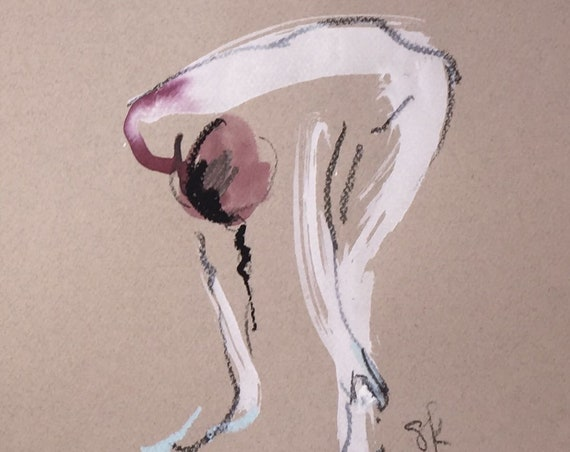 Nude painting of One minute pose 112.8 ,nude art, original, gesture sketch by Gretchen Kelly