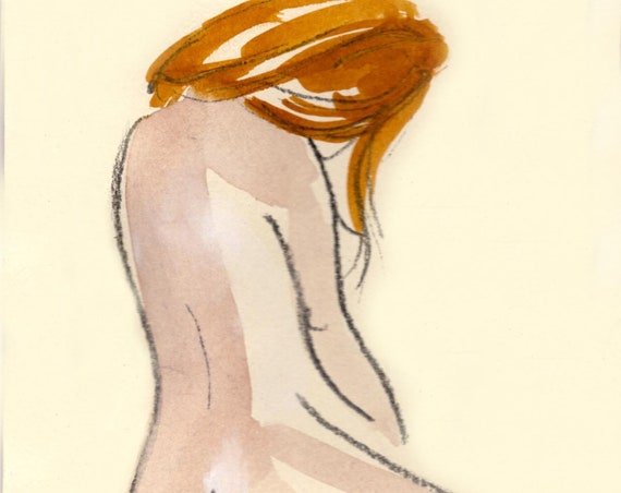 Watercolor graphite painting of MINI NUDE 65- original  by Gretchen Kelly