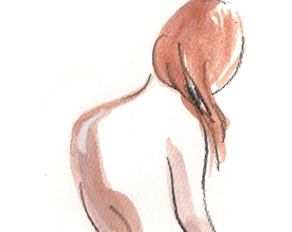 Watercolor graphite painting of MINI NUDE 61- original  by Gretchen Kelly