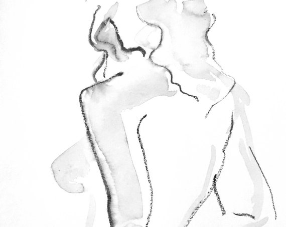 Nude painting of One minute pose 125.4 - Original nude painting by Gretchen Kelly