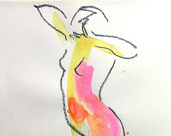 Nude painting- One minute pose 120.1 -original watercolor by Gretchen Kelly