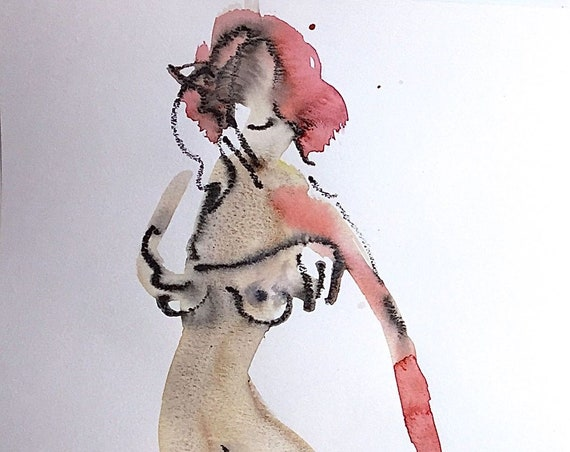 Nude painting of One minute pose 116.4 - Original watercolor painting by Gretchen Kelly
