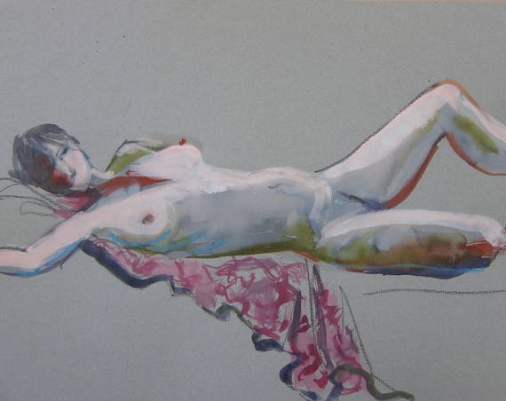 Nude painting- Original watercolor painting of Nude #1423B  by Gretchen Kelly