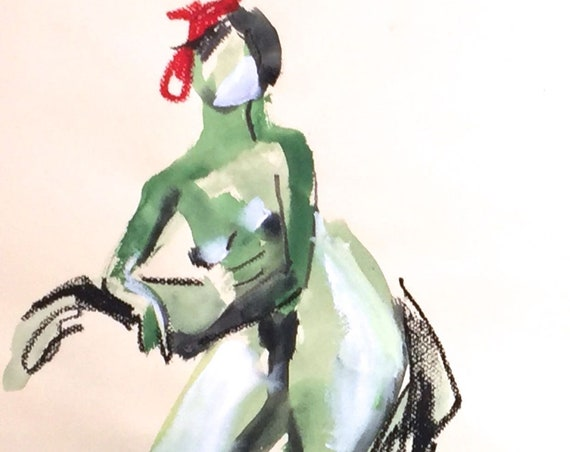 Nude painting- Original watercolor painting of Nude #1512 by Gretchen Kelly