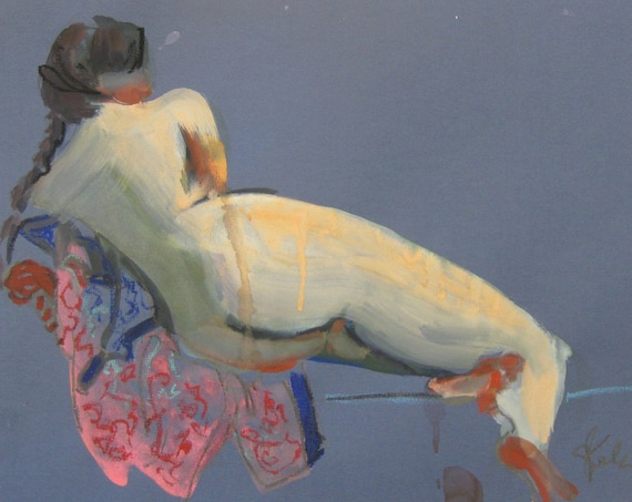 Nude painting- Original watercolor painting of Nude #1423 by Gretchen Kelly