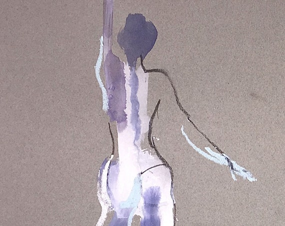 Nude painting of One minute pose 112.4 ,nude art, original, gesture sketch by Gretchen Kelly