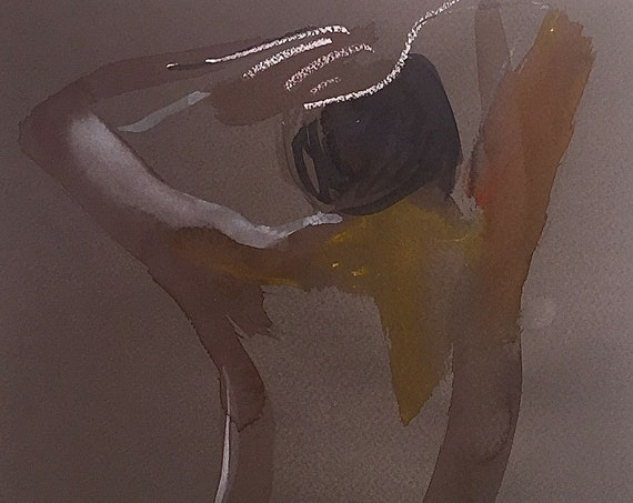 Nude painting- Original watercolor painting of Nude #1608 by Gretchen Kelly