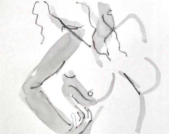 Nude painting of One minute pose 125.6 - Original nude painting by Gretchen Kelly