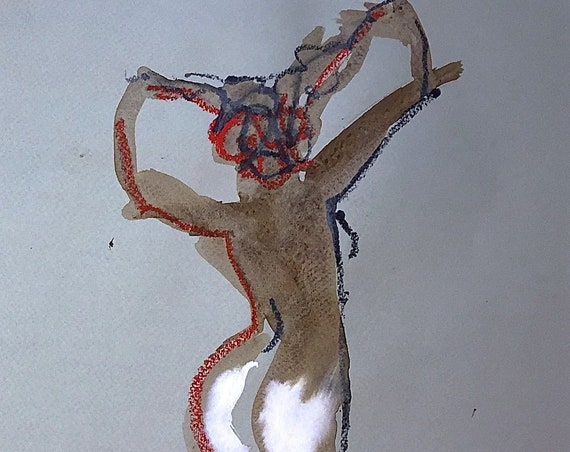 Nude painting of One minute pose 116.7 - Original watercolor painting by Gretchen Kelly