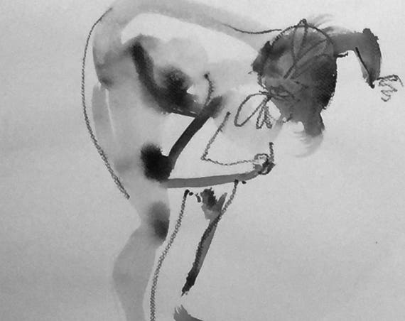 Nude painting of One minute pose 111.2 ,nude art, original, gesture sketch by Gretchen Kelly