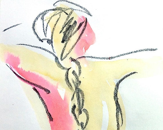 Nude painting- One minute pose 120.9 -original watercolor by Gretchen Kelly