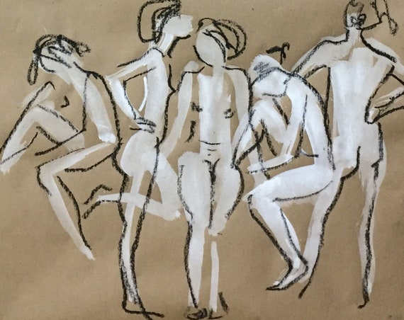 Painting of group of Nudes, One Minute Poses 116.2 Original gouache sketch by Gretchen Kelly