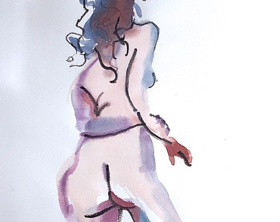 Nude watercolor painting #1578 -original  by Gretchen Kelly