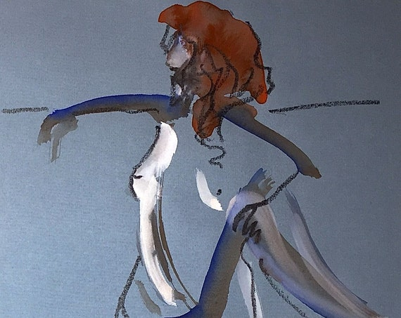 Nude painting of One minute pose 116.9 - Original watercolor painting by Gretchen Kelly