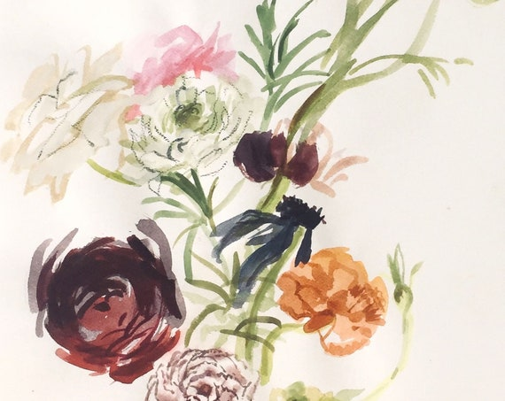 Original floral watercolor painting -Whimsical Bouquet