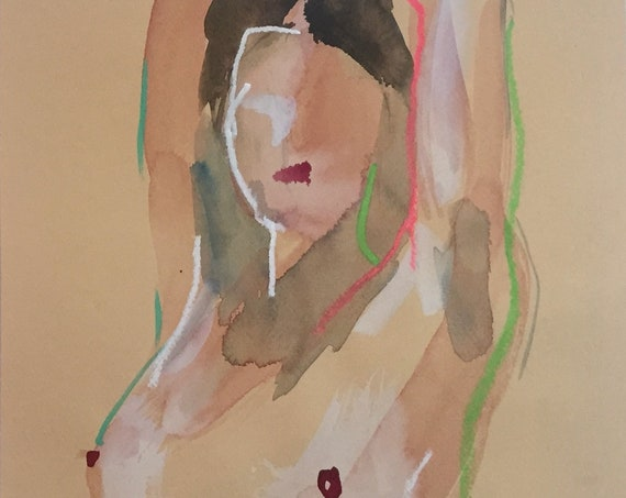 Nude painting of One minute pose 134.6 - Original nude painting by Gretchen Kelly