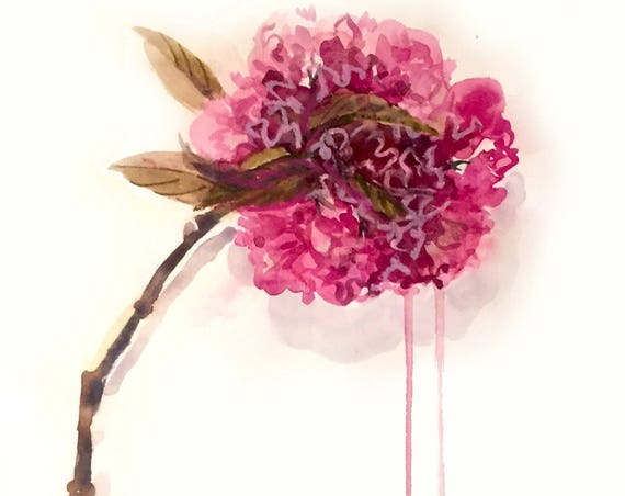 Original floral watercolor painting -Peony in Deep Magenta