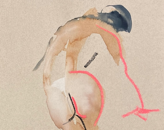 Nude painting- Original watercolor painting of Nude #1690 by Gretchen Kelly