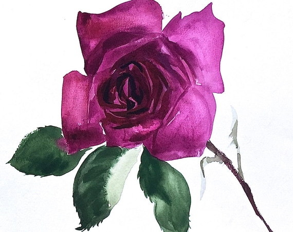 Original floral watercolor painting -Deep Magenta Rose Flower, Summer, Garden, single flower