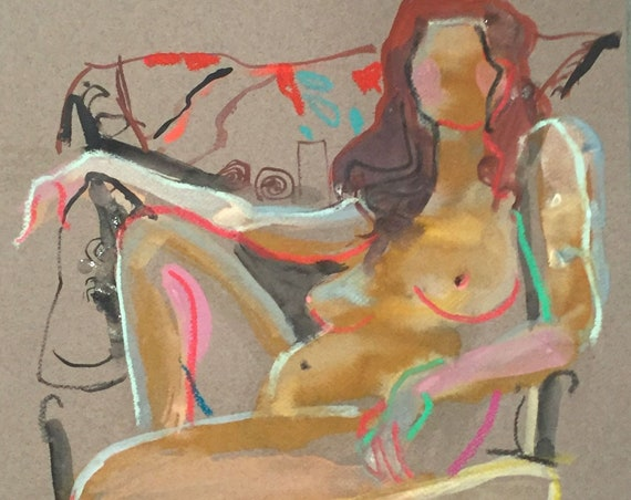 Nude painting- Original watercolor painting of Nude #1593 by Gretchen Kelly