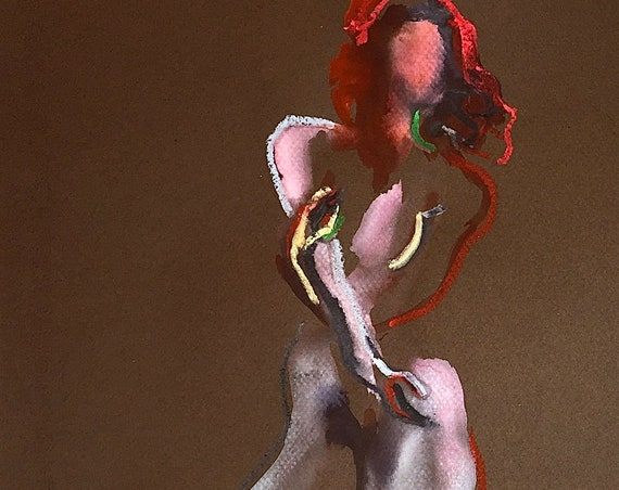 Nude painting of One minute pose 116.8 - Original watercolor painting by Gretchen Kelly