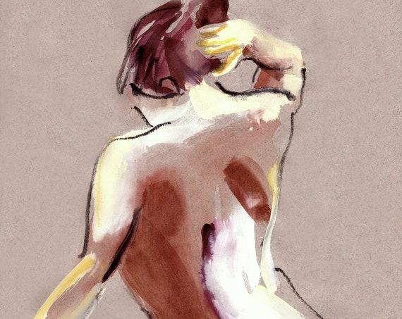 Nude #1412C - original watercolor painting by Gretchen Kelly