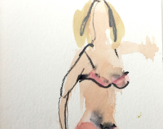 Original watercolor semi-nude painting Boudoir Session 5.3  by Gretchen Kelly