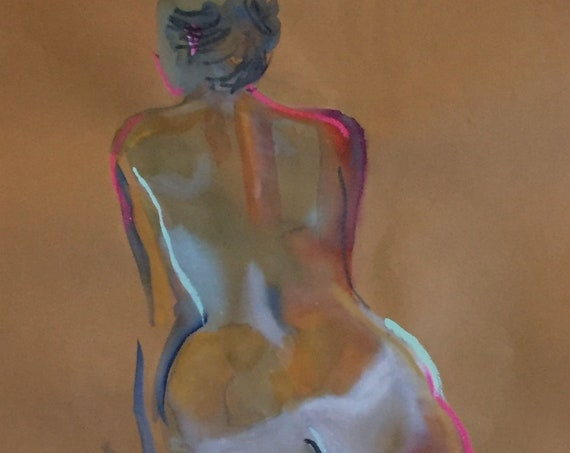 Nude painting- Original watercolor painting of Nude #1554 by Gretchen Kelly
