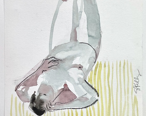 Original watercolor painting of Nude #1694, sketch by Gretchen Kelly