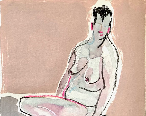 Original watercolor painting of Nude #1696, sketch by Gretchen Kelly