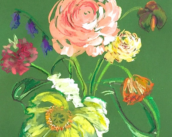 Original floral gouache painting of poppy bouquet on green paper