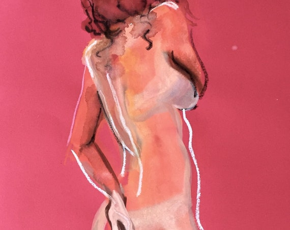 Nude painting- Original watercolor painting of Nude #1558 by Gretchen Kelly