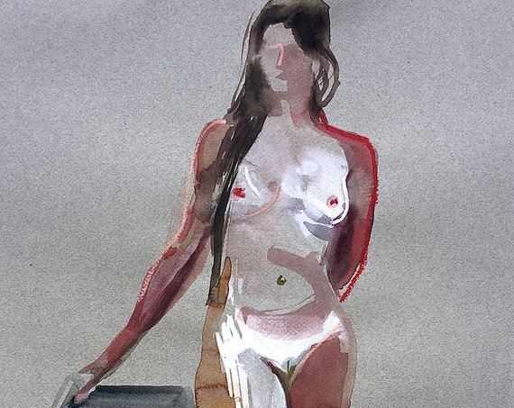 Nude painting- Original watercolor painting of Nude #1541 by Gretchen Kelly