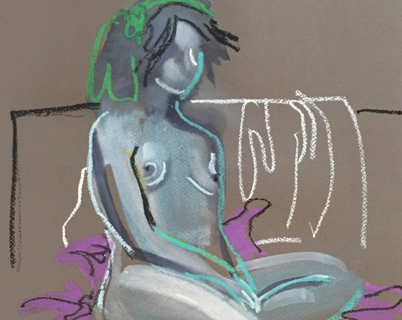 Nude painting- Original watercolor painting of Nude #1565 by Gretchen Kelly