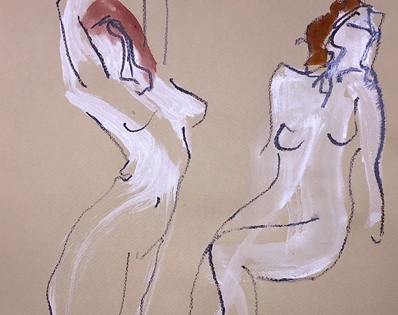 Painting of two nudes, One Minute Poses 117.3 Original gouache sketch by Gretchen Kelly
