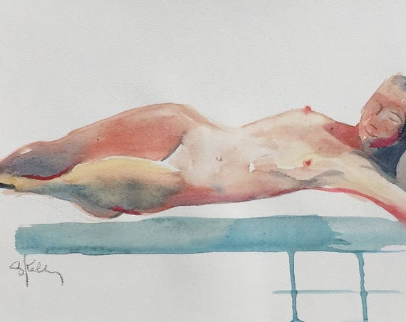 Nude painting- Original watercolor painting of Nude #1449 by Gretchen Kelly