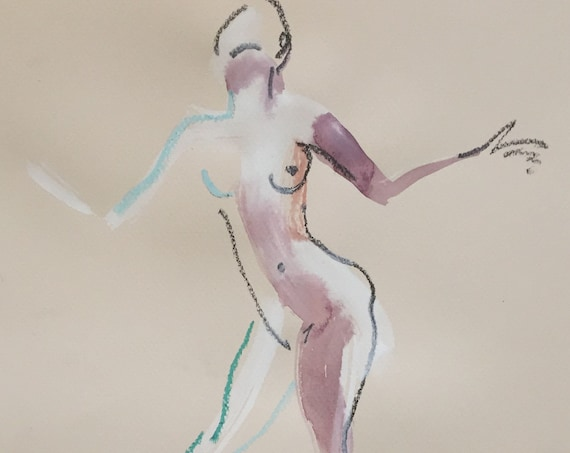 Nude painting of One minute pose 113.10 nude art, original, gesture sketch by Gretchen Kelly