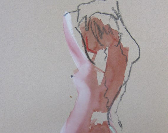Nude painting of One minute pose 105.9 - Original nude painting by Gretchen Kelly