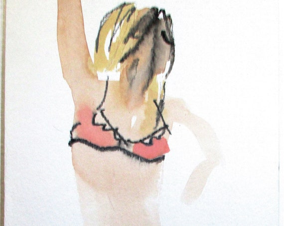 Original watercolor semi-nude painting Boudoir Session 5.2  by Gretchen Kelly