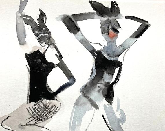 Original watercolor painting of Bunny Pose No. 4
