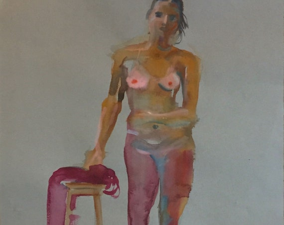 Nude painting- Original watercolor painting of Nude #1555 by Gretchen Kelly