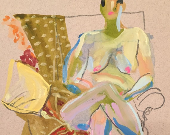 Original watercolor painting Nude #1602-  by Gretchen Kelly