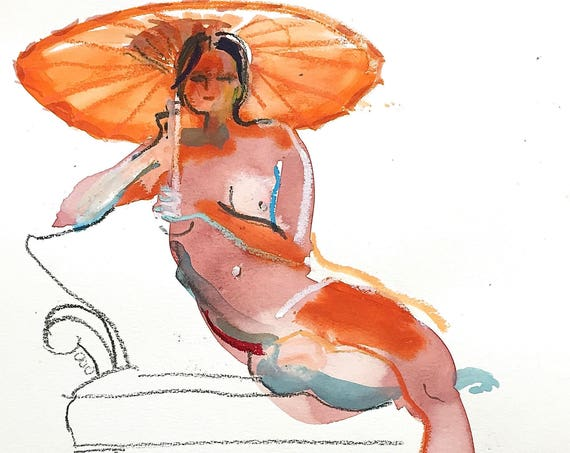 Nude painting- Original watercolor painting of Nude #1442 by Gretchen Kelly