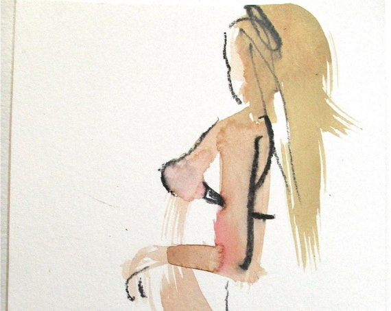 semi-nude watercolor painting Boudoir Session 5.4  original by Gretchen Kelly