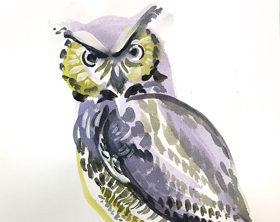 Original Watercolor painting of Great Horned Owl