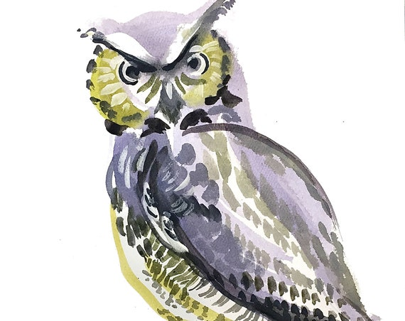 Giclee print of Great Horned Owl from original watercolor painting