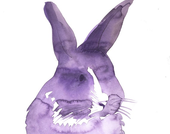 Original Watercolor painting of Purple Bunny