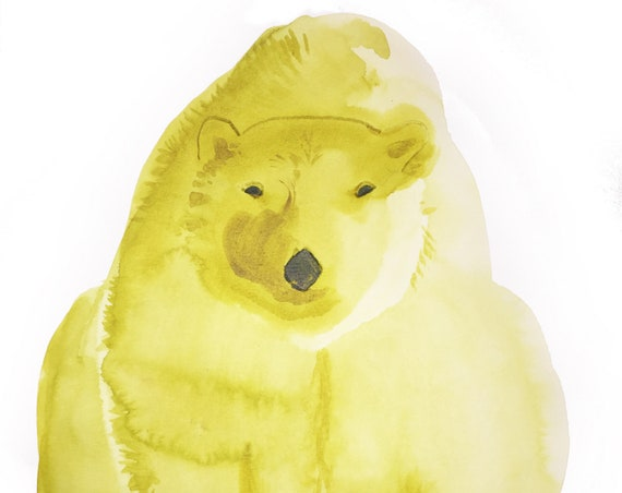 Giclee print of Chartreuse Polar bear from original watercolor painting